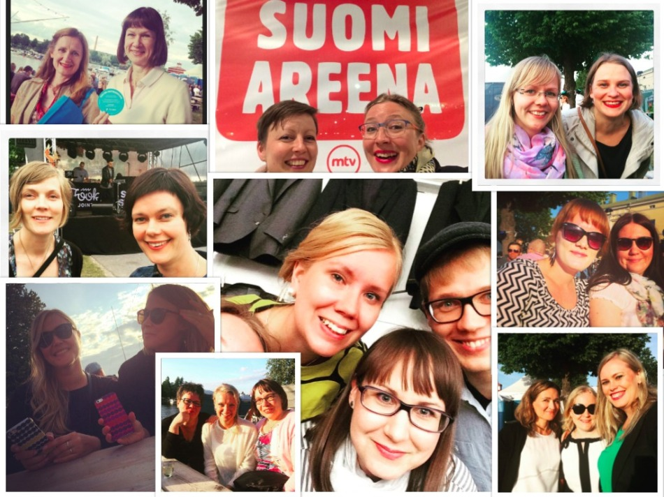SuomiAreena on paitsi keskustelutilaisuuksia, myös kohtaamisia. Tässä kuvakooste Viestintä-Pirittan järjestösomedrinkeiltä vuodelta 2015